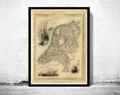 Vintage Map of The Netherlands Hollandia Holland 1851