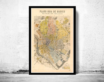 Old Map of Madrid 1905 , Spain Espana antique map