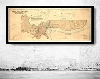 Vintage Map of Shanghai 1904 China