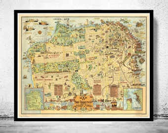 Old Map of San Francisco 1927 Pictorial Map