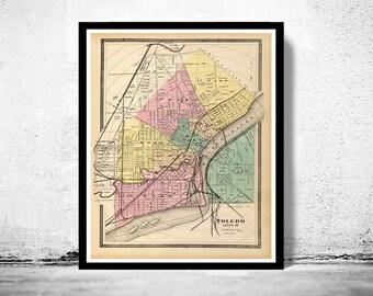 Toledo Ohio 1872 Old map antique map