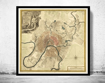 Old Map of Moscow  Russia 1745