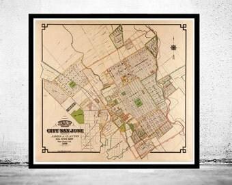 Vintage Map of San Jose, California 1886