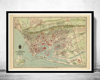 Old Map of Le Havre  France 1896