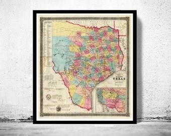 Antique Map Texas 1856 United States of America