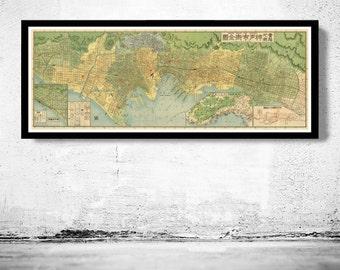 Old Map of Kobe Japan