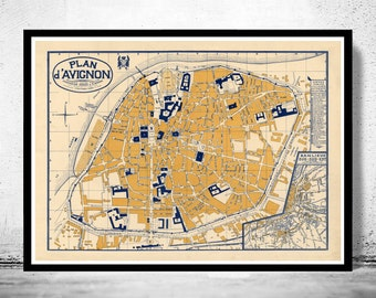 Old Map of Avignon  France 1931