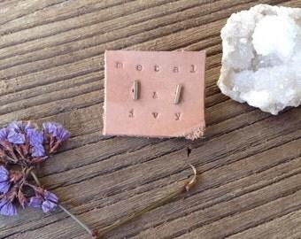 Sterling Silver small Bar Earrings - tiny bar earring - bar stud - dainty bar earring - stud earrings - delicate bar earrings