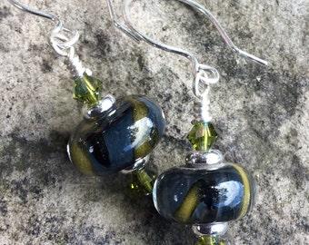 Earrings - Olive & Navy Blue