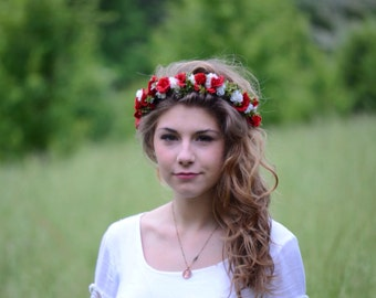 Red Rose Flower Crown Hair Wreath Wedding Music Festival
