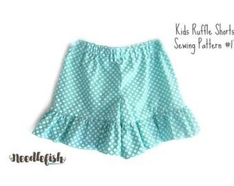 RUFFLE SHORTS Sewing Pattern - MacKenna - Sizes 12 months - 8 - Ruffled Shorts Sewing Pattern