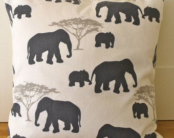 Elephant pillow cover, decorative pillow, elephant,grey, taupe, ivory, elephant cushion cover, zip