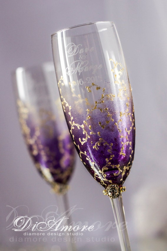 personalized wedding champagne glasses plum gold by diamoreds