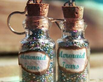 Mermaid Tears Bottle Charm Earrings