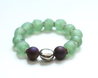 boho bracelet jewelry beaded bracelet green bottle glass stretch geode bracelet statement bracelet layering bracelet #481