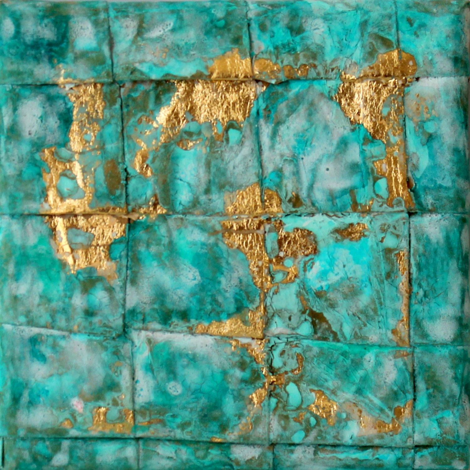 Abstract painting turquoise gold leaf home d co by for Gold paintings on canvas