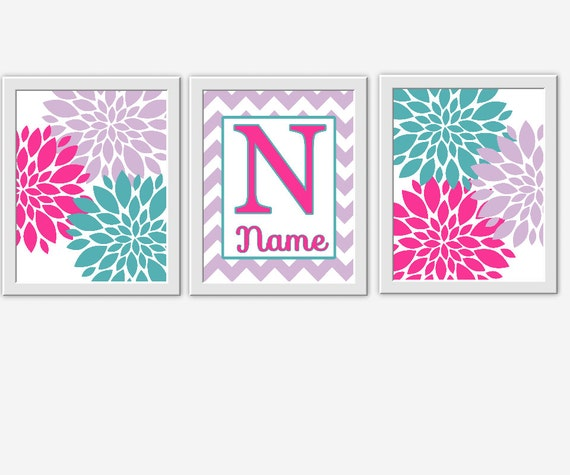 Baby Nursery Wall Art Teal Hot Pink Lavender Flower Bursts Personalized Name Baby Girl Decor ...