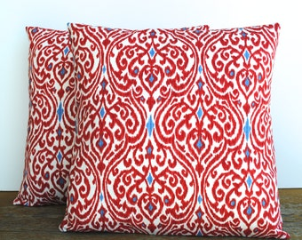 One Red blue ikat pillow cover, cushion,decorative throw pillow, decorative pillow, accent pillow, pillow