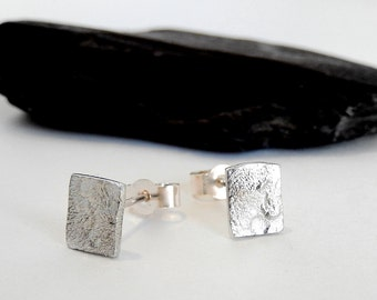 Silver square stud earrings, sterling silver stud earrings, silver handmade stud earrings, small stud earrings, silver 925 stud earrings