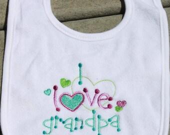 Baby Bib - I Love Grandpa Bib - Baby Gift - Shower Gift - Bib for Girls