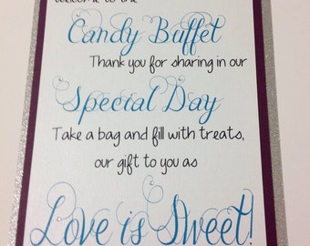 Candy Buffet Welcome Sign, Wedding Candy Sign, Custom Candy Sign, Candy Bar