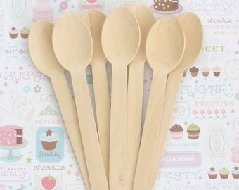 "Wooden Spoons  24 Pk /  Approx. 6.5"" Disposable Natural Wooden Utensils  Perfect for Stamping / Weddings / Birthdays / Made in the USA"