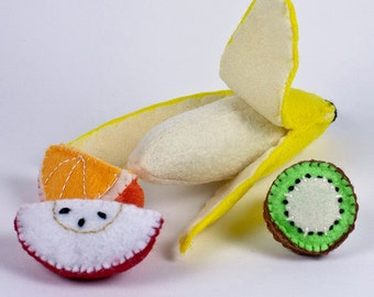 Play Food for kids, Felt Food, Pretend Food, Play Kitchen, Baby Montessori toys, Quiet Toy Activity, Banana, Apples, Educational Toy
