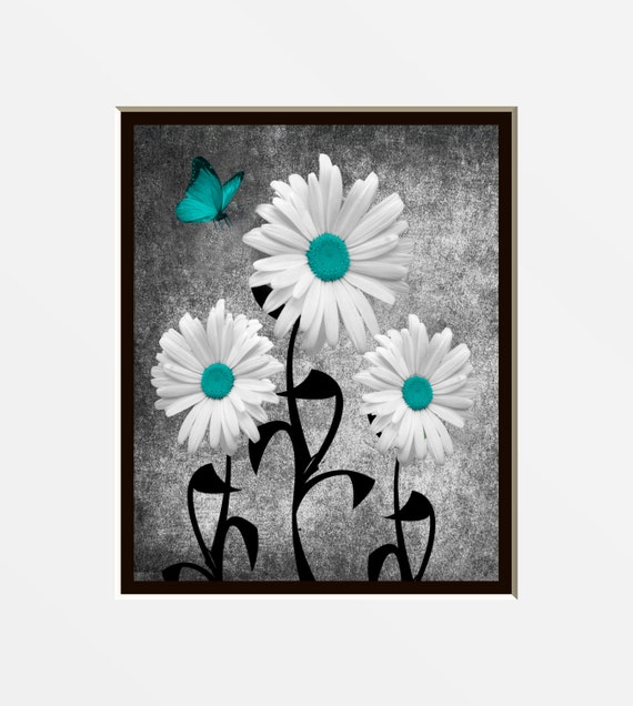 Items Similar To Teal Gray Wall Art Photography Daisy Flowers Butterfly Matte