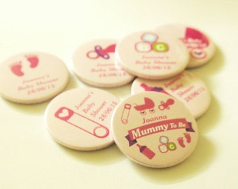 Personalised Mummy to be / Baby Shower Badges / It's a Girl - baby pink