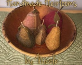 Five Wool Pears in an Antique Wooden Bowl