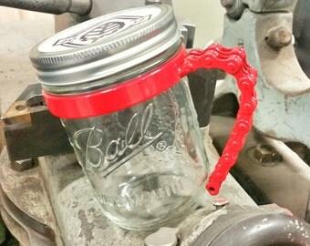 Red Bike Chain Mason Jar Handle