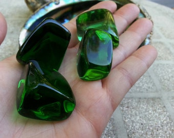 Green Obsidian (Gaia Stone) ~ 1 large Reiki infused tumbled stone