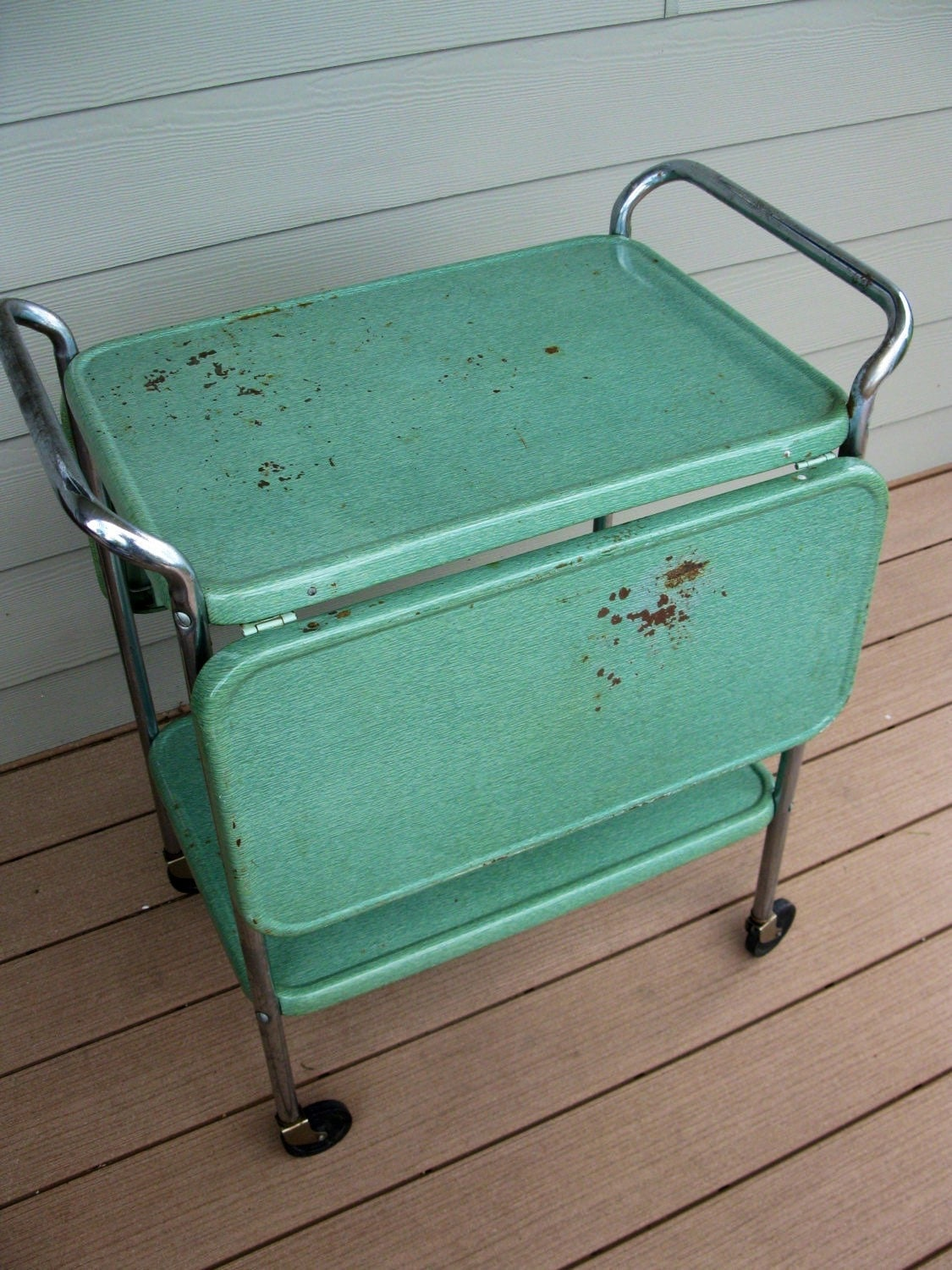 Vintage Cosco Metal Rolling Cart 2 Tier With Fold Down