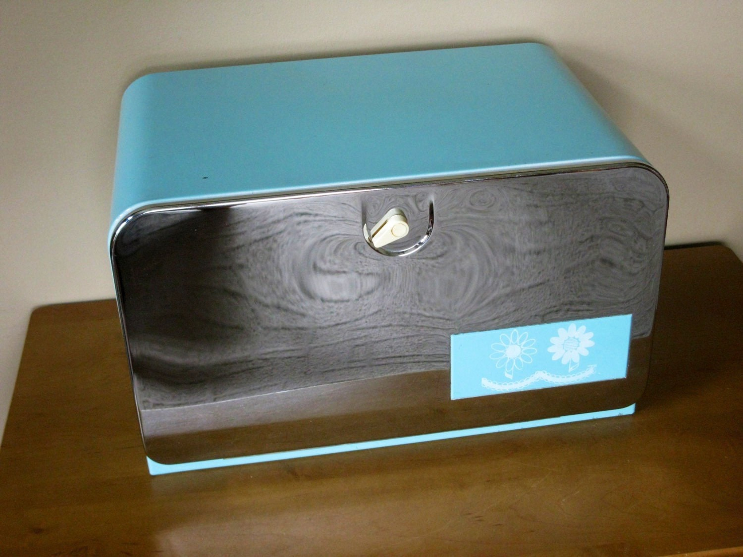 Retro Bread Box Turquoise And Chrome Large Metal Hinged