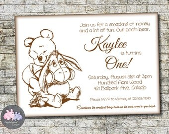 Winnie the Pooh Birthday Invitation, Pooh Bear Birthday Invitation, First Birthday or Second Birthday Pooh Invitation 5x7, Printable Digital