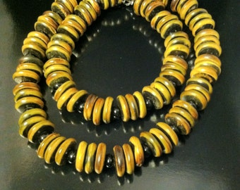 """20"""" Tribal Black Onyx and Brown Coconut Shell Necklace"""