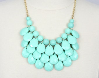 Mint Statement Necklace Teardrop Necklace Multi Layered Necklace Chunky Necklace Mint Green Minty Bib Necklace