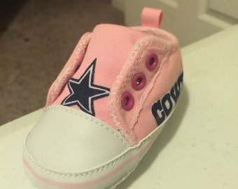 Loley pops creations Pink Cowboy Baby shoes - this creation is made by me and not affiliated with NFL