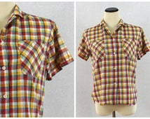 Gingham Top - 50s Sanforized Cotton Button Down Blouse - Vintage 1950s Town and Country Gingham Plaid Women's Shirt