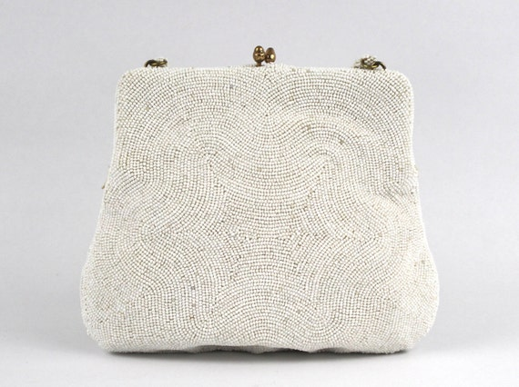 50s White Beaded Evening Bag - Bridal Purse, Vintage 1950s Kiss Lock Beaded White Handbag