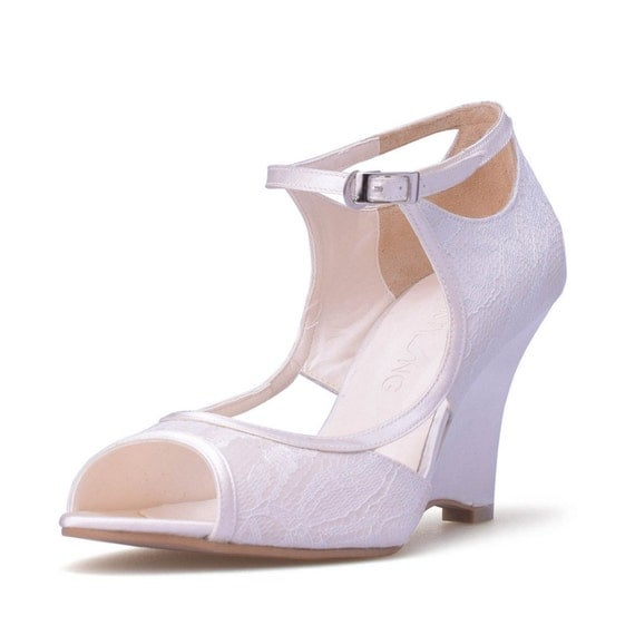 items similar to isabelle ivory lace wedge wedding shoes