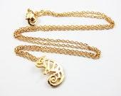 Gold Chameleon Necklace Minimalist Necklace Dainty Delicate Animal