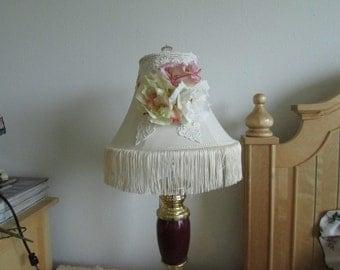 White Lamp Shade, Shabby Chic rose Lamp Shade, Lamp Shade, Shabby Chic Lamp Shade