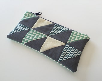 Zipper pouch with patchwork quilted front - blue, green and yellow triangles