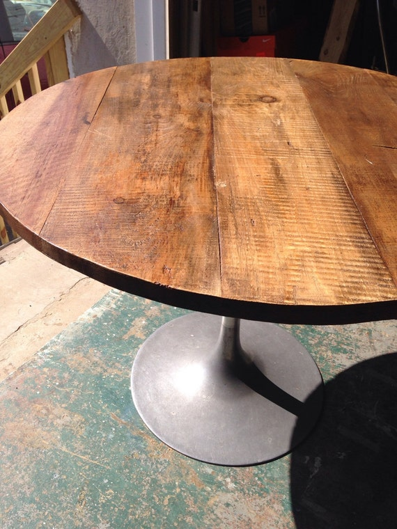 round rustic modern wood dining table top 1 by freshrestorations. Black Bedroom Furniture Sets. Home Design Ideas