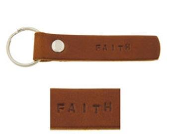 Leather Keychain -Faith