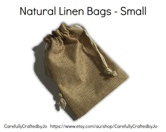 Set 10, 20 - Natural Linen Hessian Bags - 9cm x 12cm - Small - Gift Bags, Party, Lolly,Favour, Wedding, Packaging, Loot