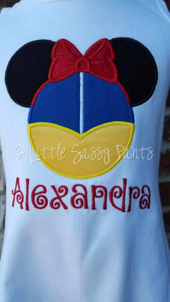 Snow White Mickey Ears Shirt Applique Shirt Embroidered