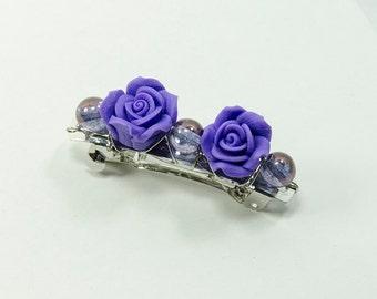 Twin rose purple hairclip