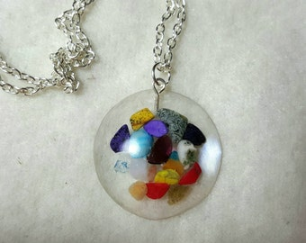 Mixed Gemstones in Resin Necklace